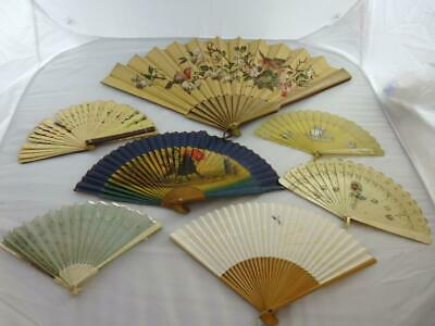 Selection of 7 x fans, mostly between 16 and 23 cm long Largest one is 38 cm