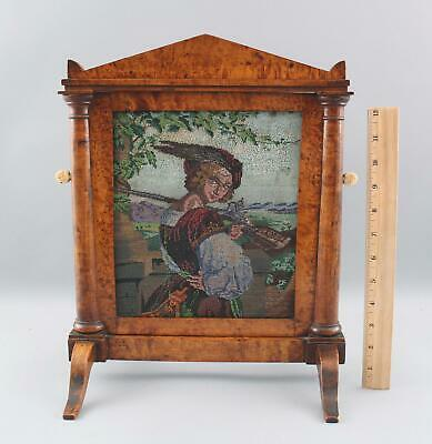 Antique 19thC Biedermeier Tabletop Firescreen Figured Maple, Micro Bead Picture