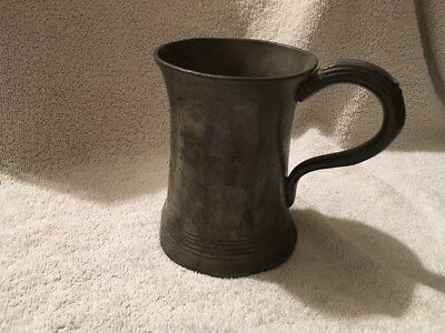 Antique Victorian Pewter Pint Tankard With Marks