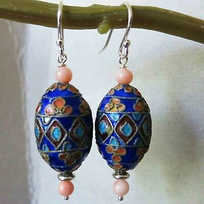 Vintage Chinese Cloisonne Earrings Elaborate and Intricate!
