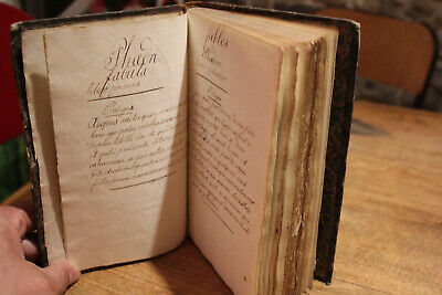 1787 Handwritten Latin and french Manuscript fables of Phaedru poems around 300p