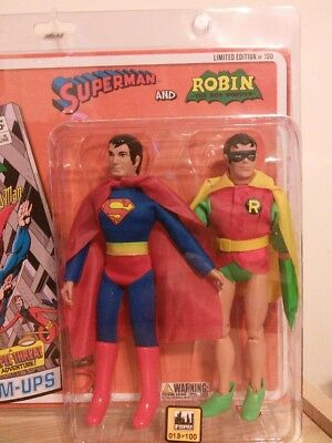 RETRO MEGO SUPERMAN 3 ; 8 INCH ACTION FIGURES LEX; MA /& PA KENT;SUPERBOY POLYBAG