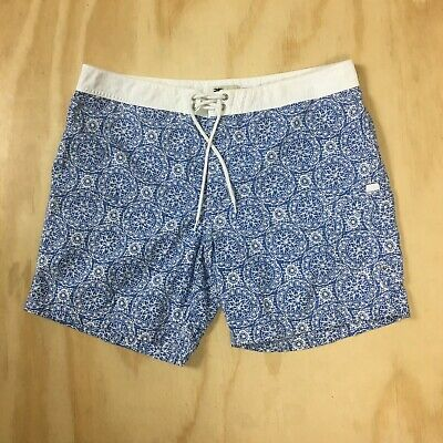 be0720167c J.Crew Original Swimwear Blue | White Board Shorts Swim Trunks Men's Size 36