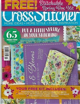 """New """"Cross Stitcher""""March 2019-Issue #342~Stichable Box Kit-Butterflies & Blooms"""