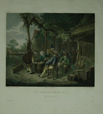 Les Inconvenients Du Jeu. [Peasants in the Tavern at Card Game] .Colored