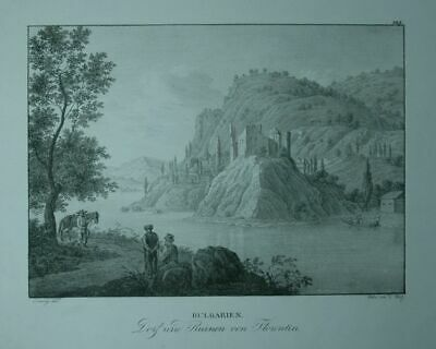 Village and Ruins by Florentin. Bulgarien. Lithography by F. Wolf Nach Ludwig E