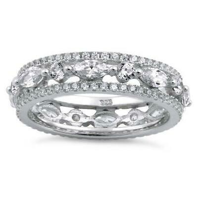 Sterling Silver Eternity Round and Marquise Clear CZ Ring Size 10