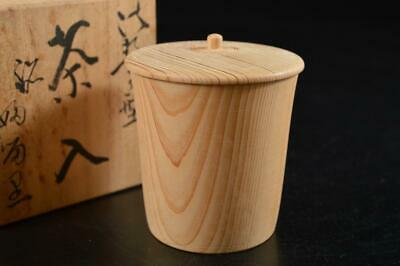 G8474: Japanese Wooden TEA CADDY Chaire Container w/box Tea Ceremony