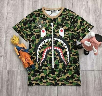 e7d03ae66 Men's Casual Bape Camo Shark Jaw Fake Zipper Icon R-Neck A Bathing Ape T
