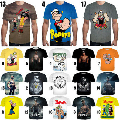 bba62c2d Oversized Women Men T-Shirt 3D Print Cartoon Anime Popeye Many New Style Tee  Top