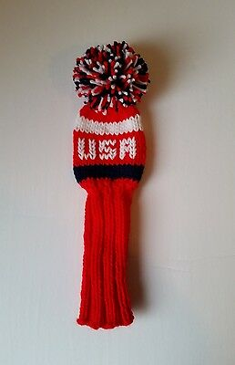 RED USA/ Red White Navy Hand Knit 10-inch GOLF CLUB HEAD-COVER for Woods