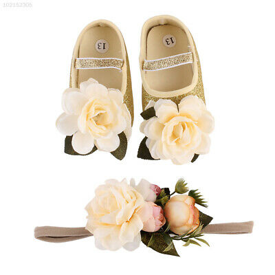 6CF2 0-12 Months Baby Shoes First Walkers Shoe Gold Silver Foot Flower Soft
