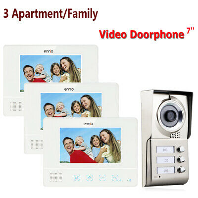 Apartment 3 Unit Intercom Entry System Wired Video Door Bell Phone Audio Visual