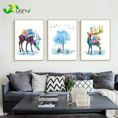 3 Pcs Nordic Deer Wall Art Painting Print On Canvas Poster Home Decor Unframed