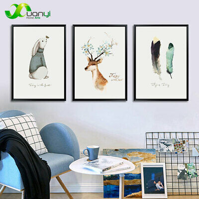 3 Pcs Nordic Style Deer Wall Art Painting Print On Canvas Home Decor Unframed