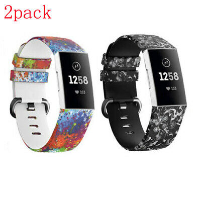 2-Pack Flower Floral Silicone Sport Band For Fitbit Charge 3 / 3 SE Wrist Strap