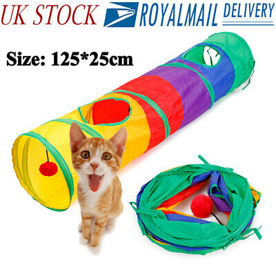 Foldable 2 Way Tunnel Cat Pop Up Tube with Ball Toy Pet Rabbit Kitten Play House