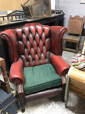 Oxblood Chesterfield Chair Wing Back Arm Chair Vintage Retro Seat