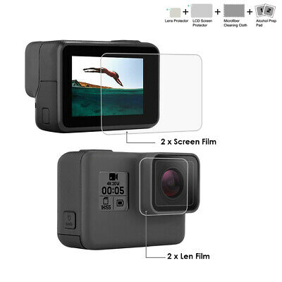 2PCS Lens Protector + Screen Tempered Glass Film for GoPro HERO 7 6 5 Black