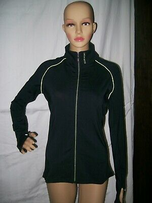 Elle Sport Black And Kiwi Longsleeve Full Zip Top Jacket Finger Holes