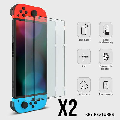 2 Pack of 9H Tempered Glass Film Screen Protector Covers For Nintendo Switch