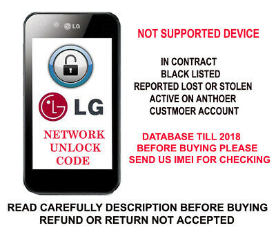 CRICKET LG Stylo 3 m430 K540 Risio m154 Fortune m153 X Charge m327 Unlock Code