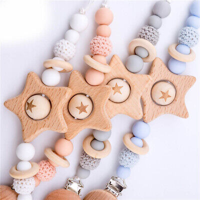 Baby Silicone Teether Pacifier Chain Clips Star Beech Wood Feeding Dummy Nipples