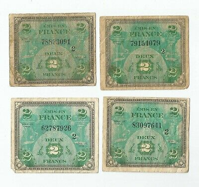 WW2 BANKNOTE :FRANCE : 2 FRANCS : Group of 4 notes