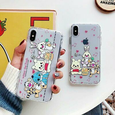 Cartoon Bear Shockproof Clear TPU Soft Phone Cover Case For iPhone XR XS 6 7 8+