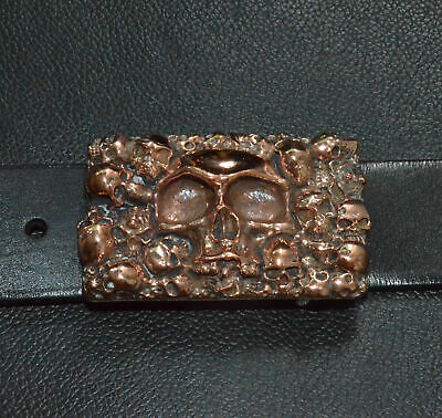 Handmade Pure Red Copper cast Human Skull Square Belt Buckle Punk Personal Gift
