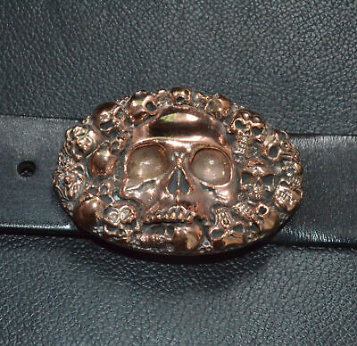 Handmade Pure Red Copper cast Human Skull Oval Belt Buckle Punk Personal Gift