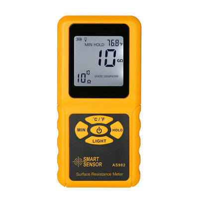 SMART SENSOR Handheld LCD Surface Resistance Meter Tester with Temperature R9R8