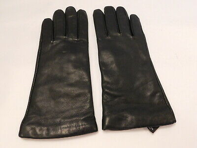 Grandoe Ladies Black Leather Winter Gloves Cashmere Knit Lining Size Large
