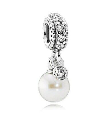 1929bff21 925 sterling silver Luminous Elegance pearl clear CZ dangle charm fit  bracelet
