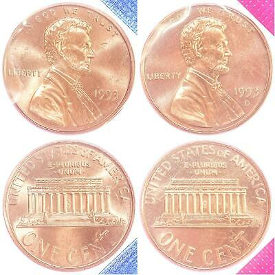 1993 P D Lincoln Memorial Cent BU US Mint Cello 2 Coin Penny Set