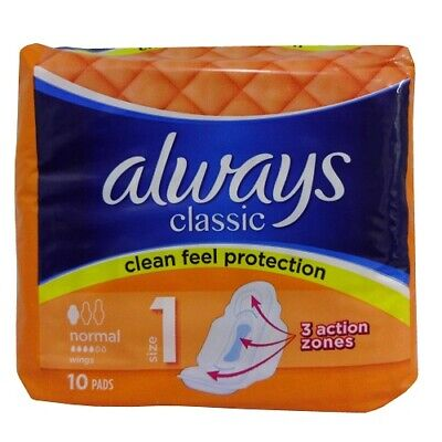 New 804021  Always Classic Maxi Pads 10Ct Normal (16-Pack) Feminine Hygiene