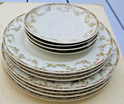 HAVILAND china Limoges France Schleiger 346 LOT Bread, Dinner & Saucer plates