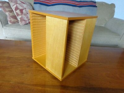 Solid maple wood CD cabinet lazy susan holds 72 music CDs in jewel cases