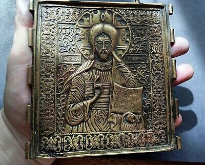 ORTHODOX ICON ANCIENT RUSSIA 19th cent diptych BRONZE JESUS  the old believers