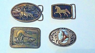 4 WESTERN Belt buckles lot- CHIEF JOSEPH-Supreme Sultan-Calf Roping- HORSE CAMEO