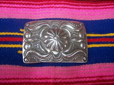 Native American Sterling Silver Repousse Concho Belt Buckle Navajo Bill Emerson