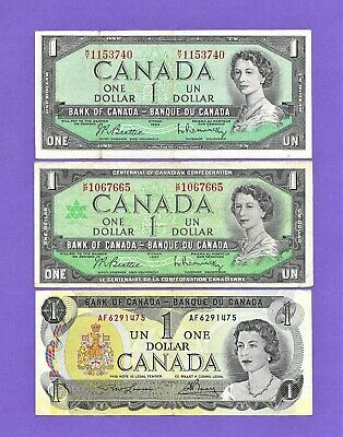 A Lot Of 3 Bank Of Canada $1 One Dollar Bank Notes**1954*1967*1973**Nice Notes**