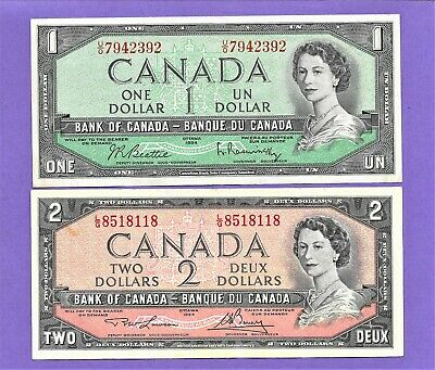 1954 Bank Of Canada $1-$2 Bank Notes Lot**1954**One & Two Dollar**Nice Lot!!