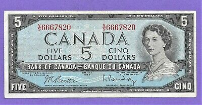 1954 Bank Of Canada $5 Five Dollar Bank Note!!**Nice Note**