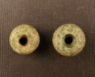 Ancient Pre-Columbian JADEITE BEADS MATCHED PAIR  14mm x 8mm (7 grams total)