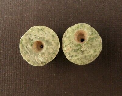 Ancient Pre-Columbian JADEITE BEADS MATCHED PAIR  18mm x 9mm (12 grams total)