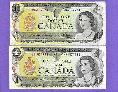 A Lot Of 2 1973 Bank Of Canada $1 One Dollar Bank Notes*Nice Dollar Bills