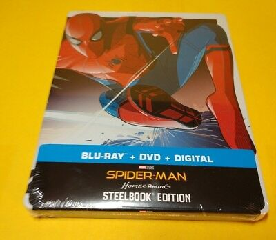 Spider-Man Homecoming Steelbook (Blu-ray+DVD+HD Digital)NEW-Free Box Shipping