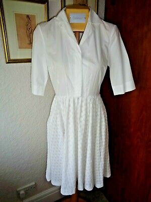 FRENCH CONNECTION WHITE VINTAGE STYLE TEA PARTY SUMMER COTTON DRESS  Size 6 / 8
