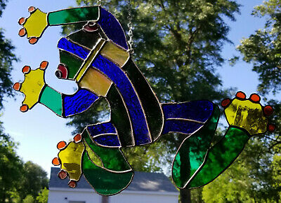 Stained Glass Frog Hang Figurine Sun Catcher Hand Crafted Art Glass Tiffany Toad
